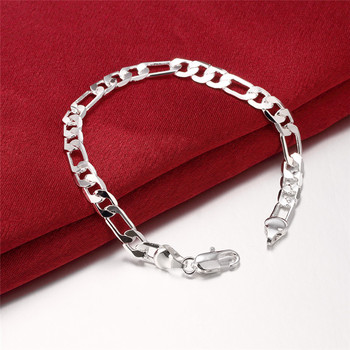 Beautiful Elegant wedding women men silver color 6MM Flat Bracelet high quality fashion classic jewelry JSH-H219 , wholesale 1