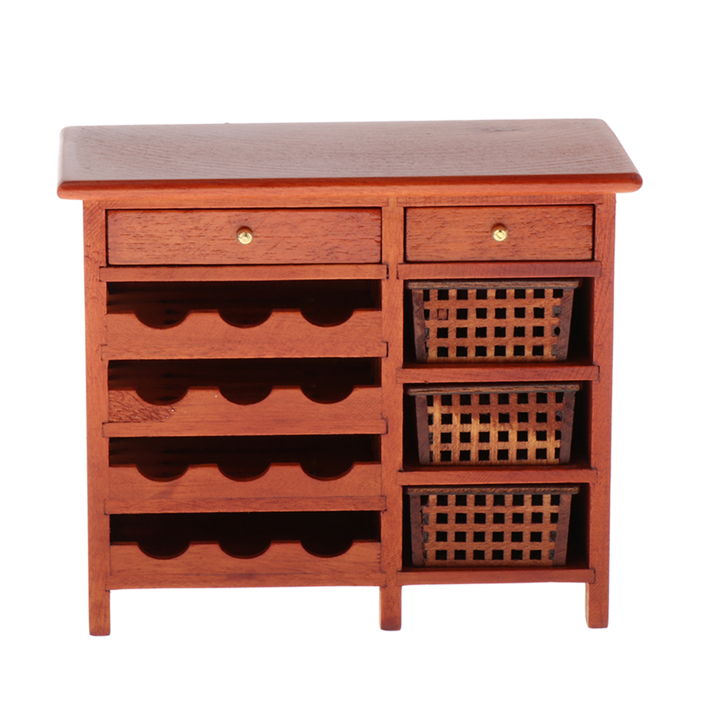 1:12 Wooden 2 Drawer Filing Cabinet for Doll House Miniature Furniture Decor