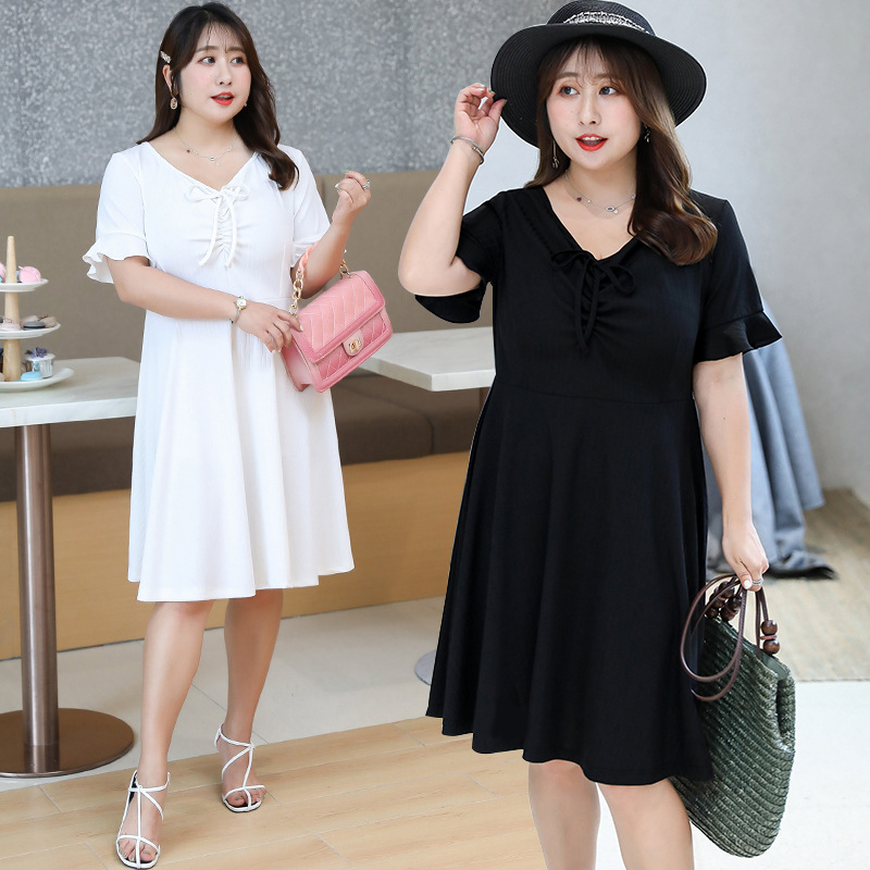 [Xuan Chen] Summer New Style Fat Mm Plus-sized WOMEN'S Dress Young-Style Jersey Dress A Generation Of Fat W017