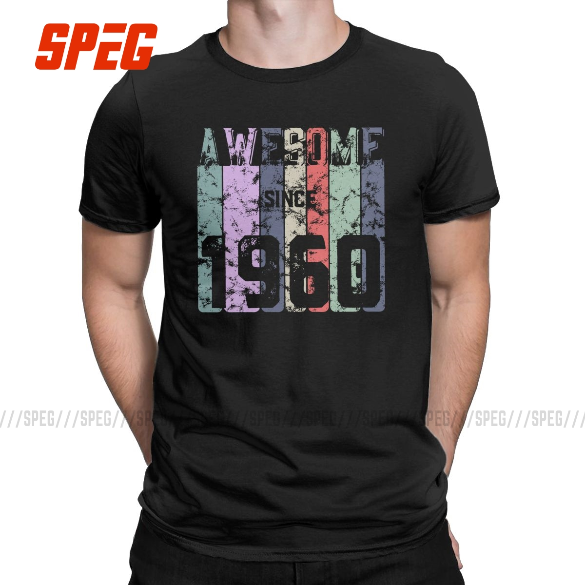 Men Awesome Since 1960 T Shirt 60 Years Old 60th Birthday Gift 100% Cotton Clothes Short Sleeve Tees Graphic Printed T-Shirt