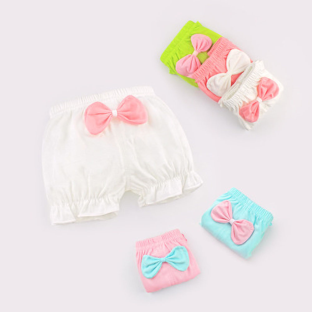 Newborn Panties Baby Cotton Panties Girls' Underwear Kids Lovely Solid Bow Underpants Summer Shorts 0-2 Year Old