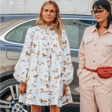 Animal Print Ruche Losse Mini Jurk Vrouwen Lente Zomer Lange Mouwen Stand Katoen Korte Jurken Casual Vintage Vestidos 2021
