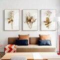 Картина с изображением золотых цветов для украшения гостиной, холст, плакат, современный Декор для дома, скандинавский Золотой принт, Насте...