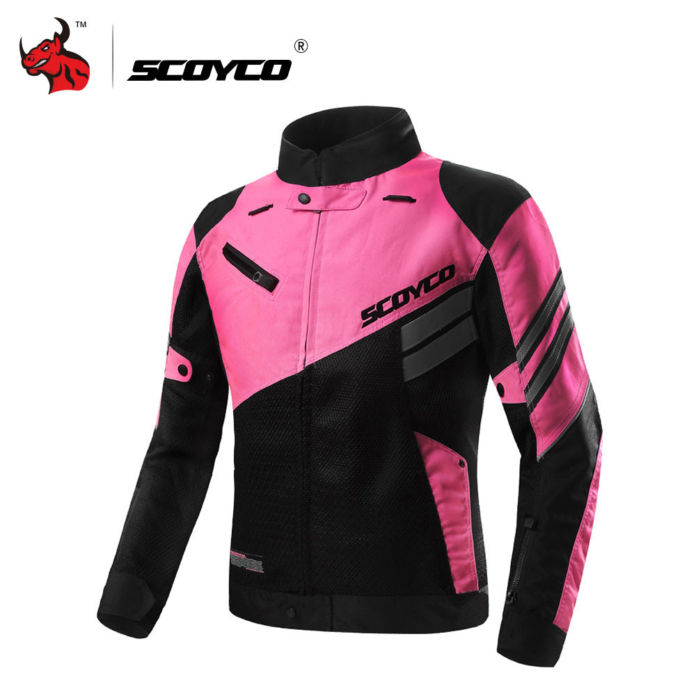 SCOYCO Women's Motorcycle Jackets Summer Breathable Mesh Moto Jacket Motocross Off-Road Racing Jacket Jaqueta Motociclista Pink