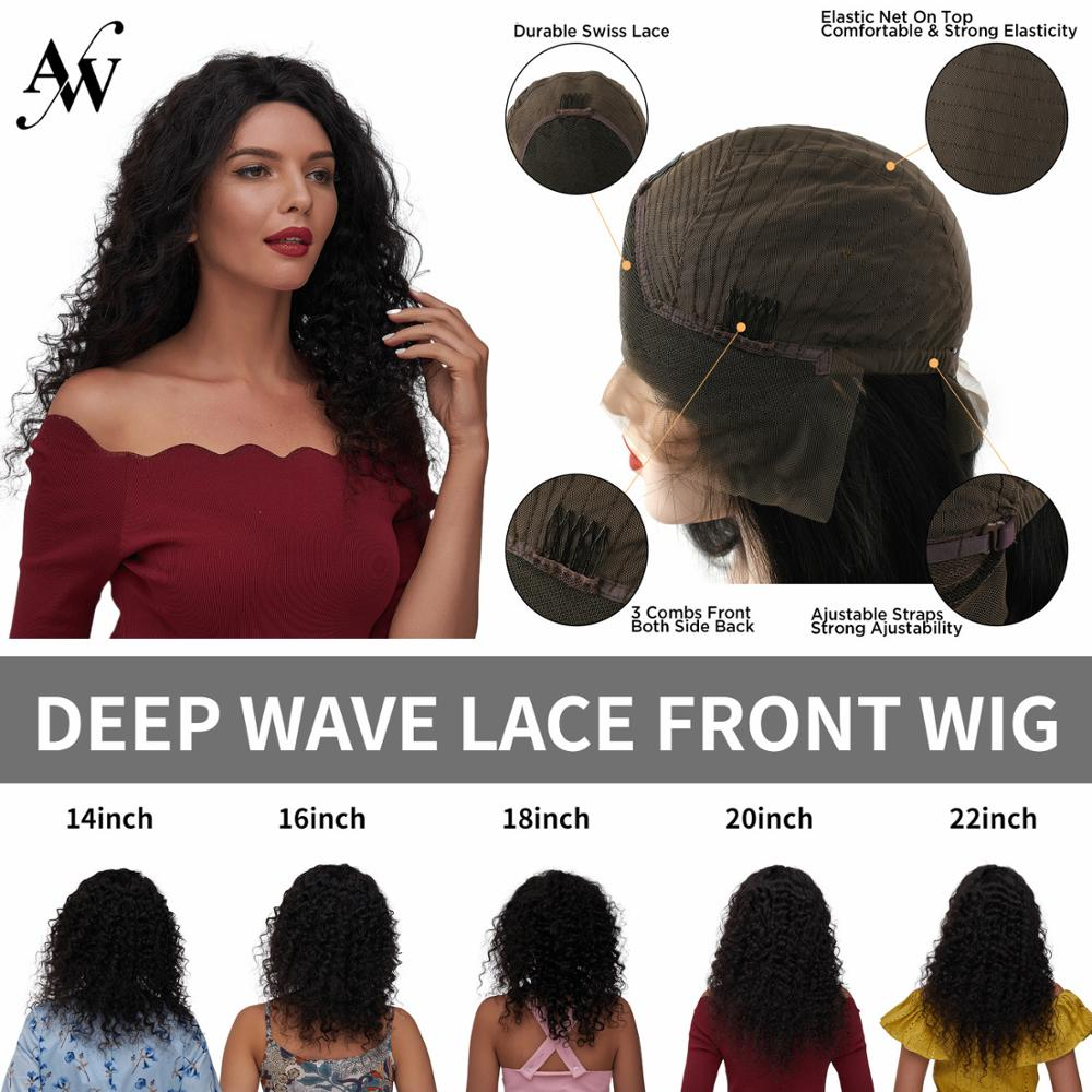 AW 14''-22'' Deep Wave Remy Human Hair Lace Wig Transparent HD Pre Plucked Hairline With Baby Hair Lace Frontal Wig 150% Density