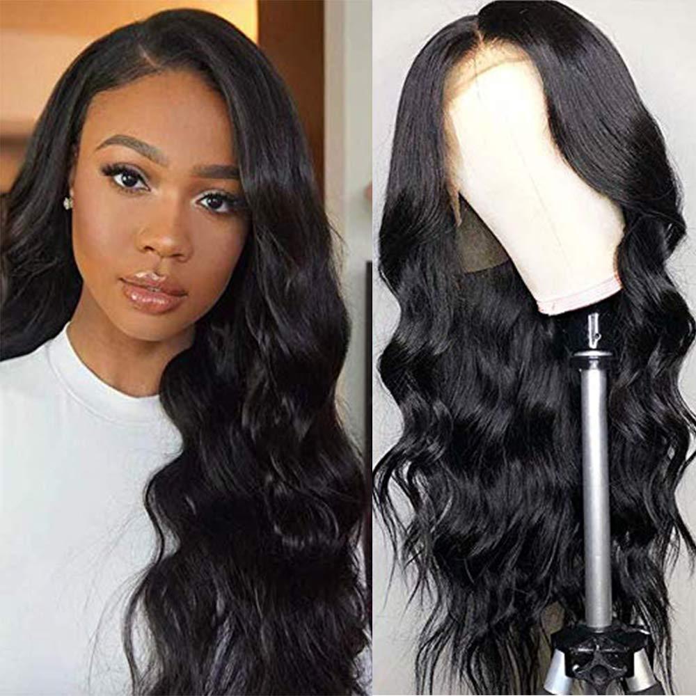 Partie moyenne corps vague dentelle partie cheveux humains perruque pré plumé brésilien T partie dentelle perruques pour les femmes Remy cheveux