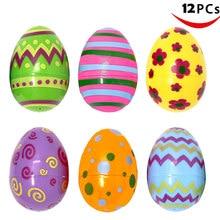 12 adet renkli paskalya yumurtası çocuk baskılı Pastel plastik çeşitli yumurta avı parti çocuk çocuk DIY eğitici oyuncaklar eğlenceli çocuk hediyeler