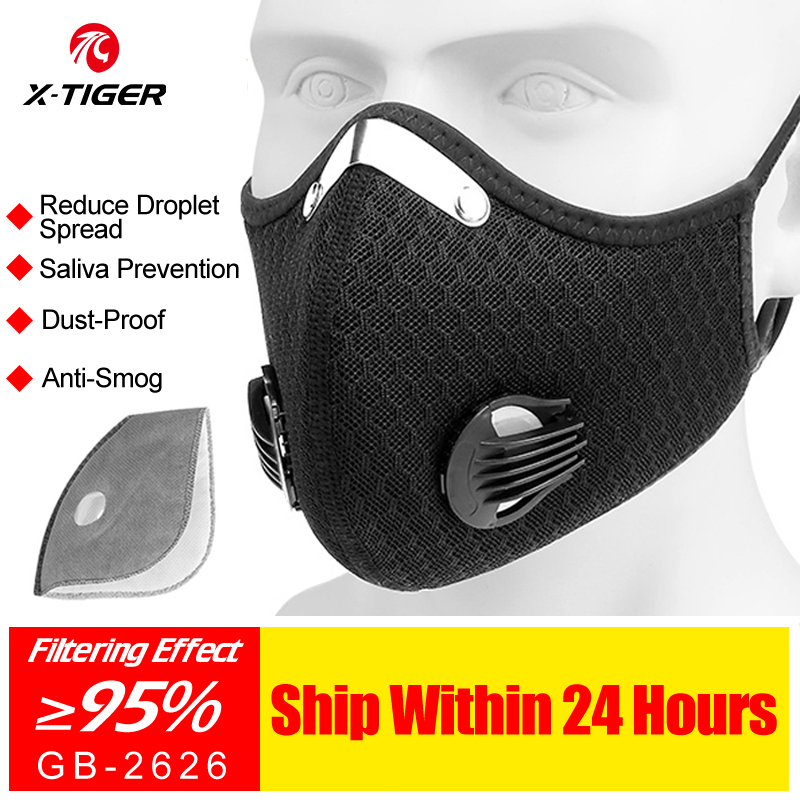 X-TIGER Cycling Face Mask Anti-Pollution Filter KN95 Sports Mask PM 2.5 Activated Carbon Breathing Valve MTB Mask With 2 Filter