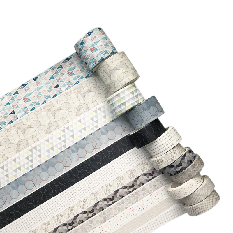 12 Rolls Geometric Pattern Washi Tape Masking Tape Decorative Adhesive Tape Sticker Scrapbooking Diary Stationery Supply