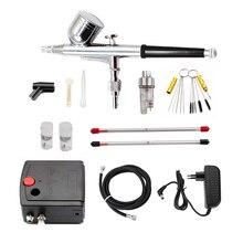 Kit compressor para airbrush, conjunto com pistola compressora para pintura de ar, pistola de pulverização, lixa para arte, modelo de carro, tatuagem de unhas conjunto de ferramentas,