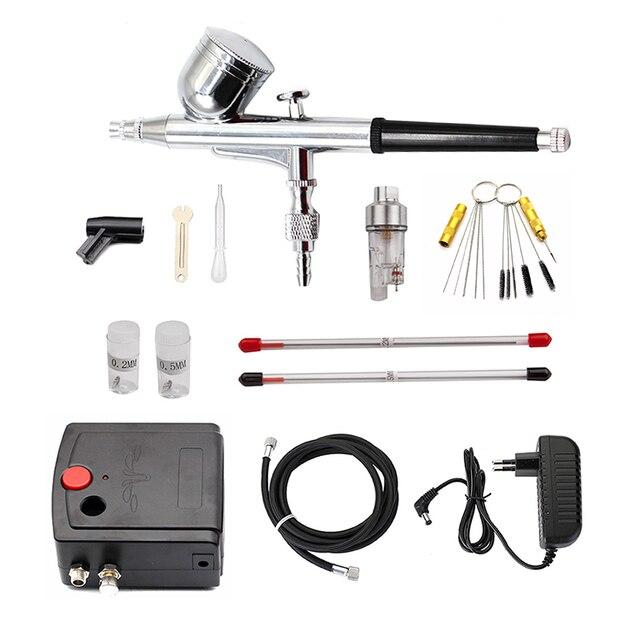 Kit de compresor de aerógrafo de doble acción, pistola de pulverización de pintura con cepillo de aire, pistola de chorro de arena para el arte del coche, modelo de tatuaje, juego de herramientas para uñas