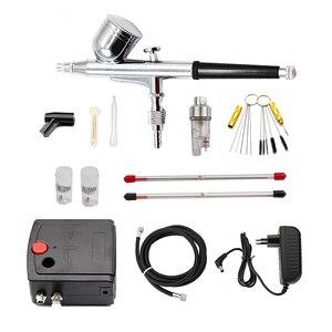 Image 1 - Kit de compresseur aérographe à double Action pistolet à peinture à brosse à Air pistolet à sablage pour modèle de voiture dart ensemble doutils à ongles de tatouage