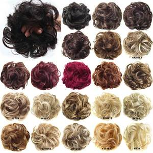 Oubeca Hair Buns Ponytail-Extensions Scrunchies-Wrap Chignon Curly-Scrunchy Elastic-Messy