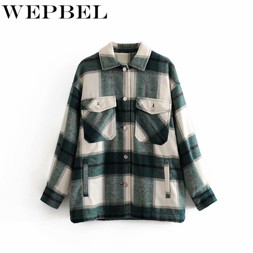 WEPBEL Women Casual High Quality Warm Plaid Long Coat Jacket Overcoat Fashion Shirt