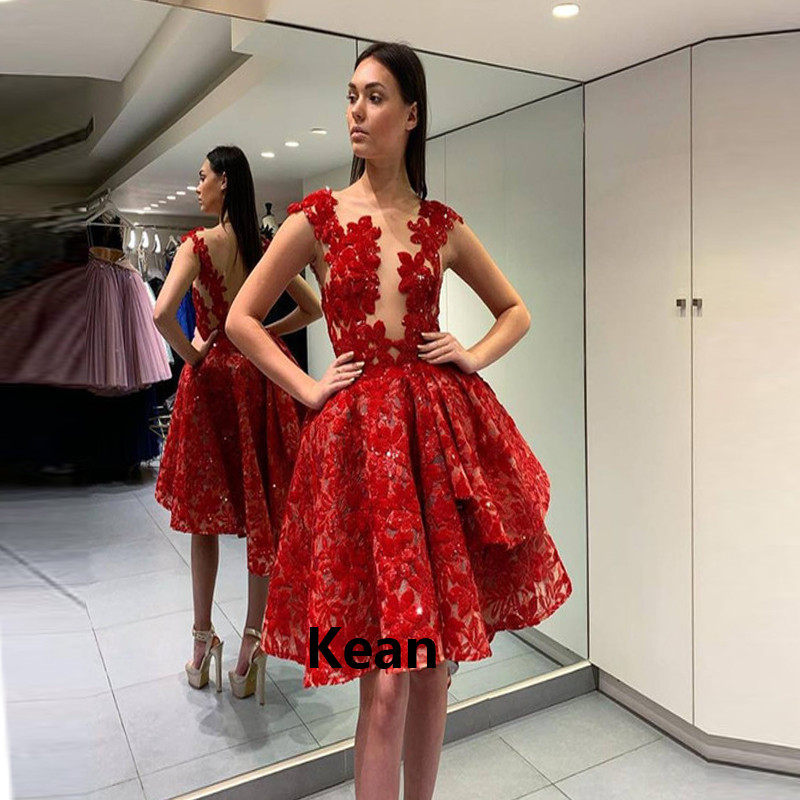 Red Sequin Lace Cocktail Dresses Deep-V Illusion Tiered Short Party Dress Homecoming Dresses Knee Length Plus Custom Made