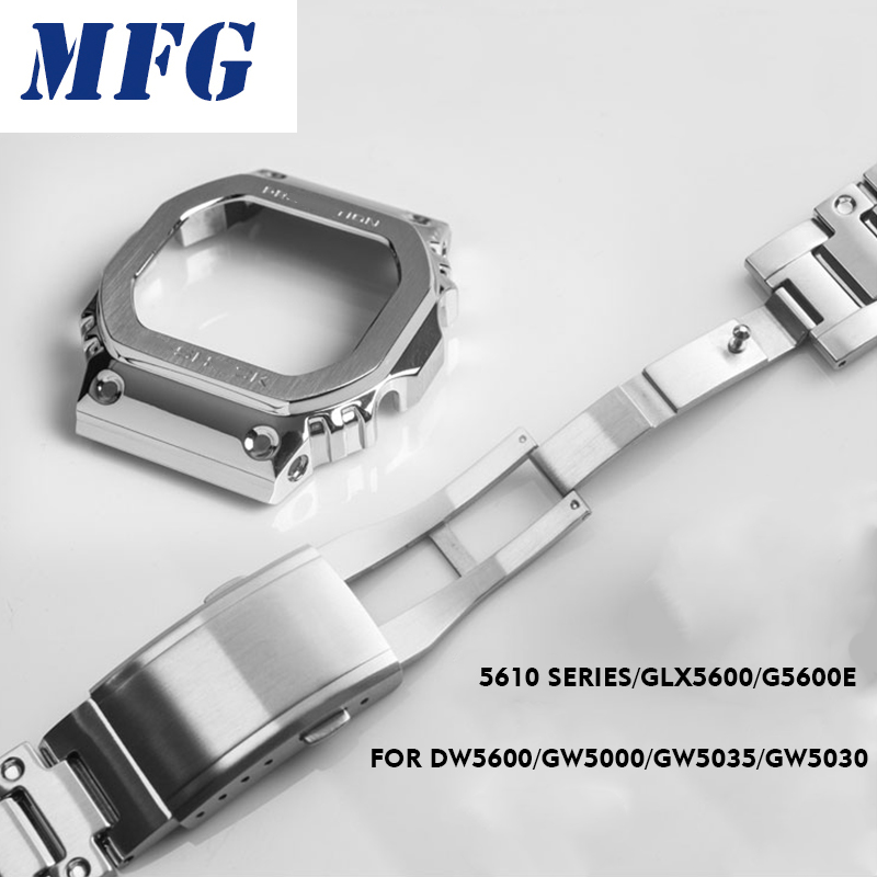 Metal Watch Band Bezel Strap DW5600 GWM5610 GW5000 Camouflage Stainless Steel Watchband Frame Bracelet Accessory With RepairTool