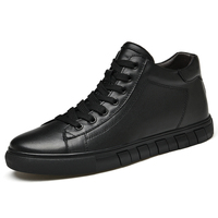 High Top Simple Pure Black Sneakers for Men Breathable Sneakers Fashion Flats High Quality Black Men's Leather Casual Shoes * 1