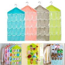 16 bolsos do agregado familiar claro pendurado saco meias sutiã roupa interior rack cabide organizador de armazenamento transparente guarda-roupa sacos 78x42cm