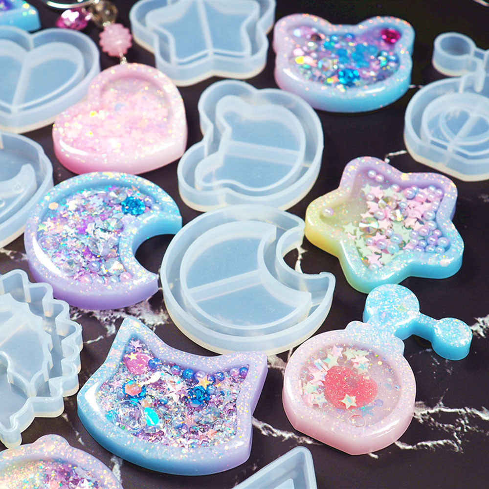 1Pcs Popsicle Heart Star Moon Silicone Molds UV Resin Epoxy Mold Jewelry Mold Star Bear Key Chain Charm Jewelry Craft Tool