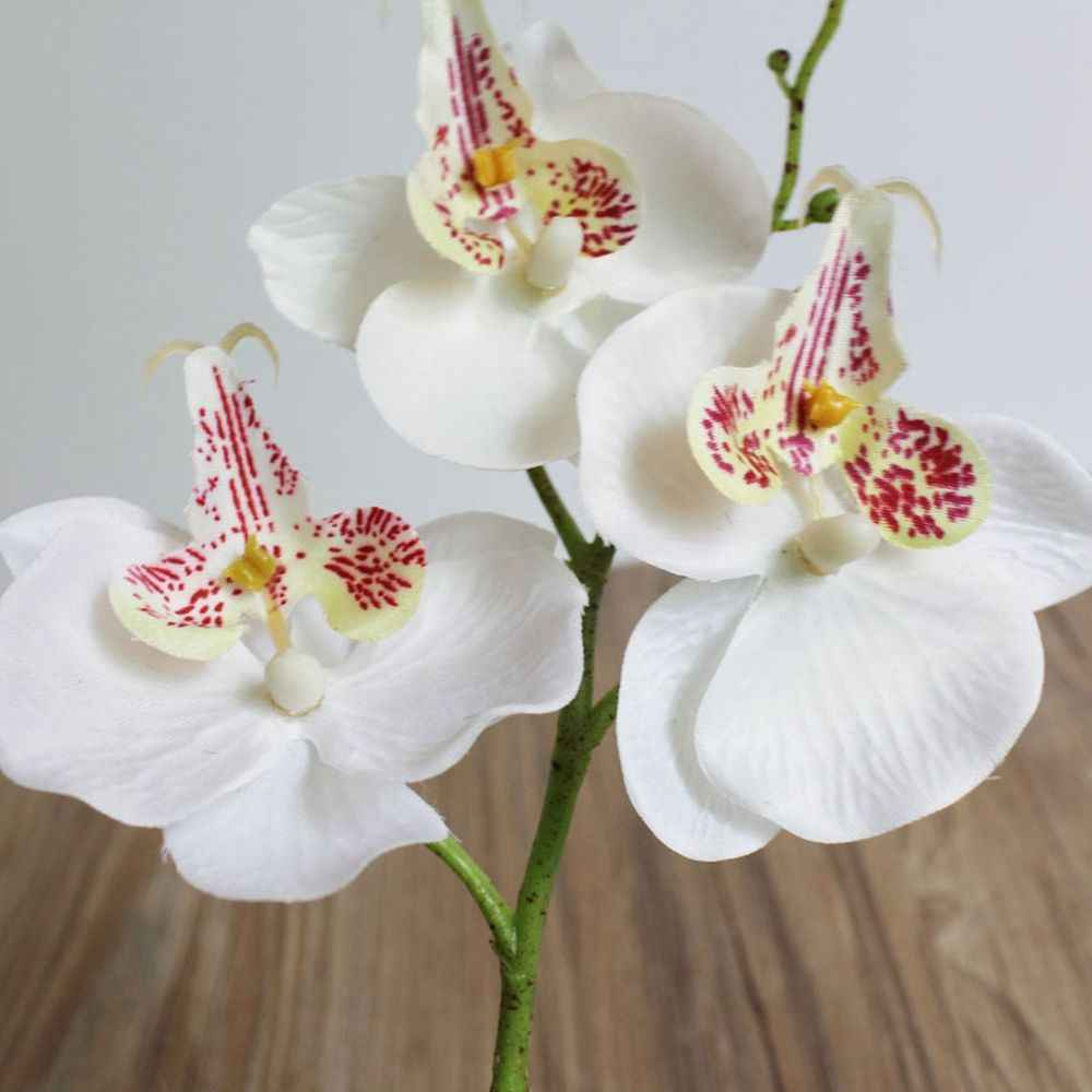 1 PC 29cm Nhân Tạo Bướm Phong Lan Hoa Giả Ba Đầu Hoa Lụa cho Đám Cưới Nhà Lễ Hội Trang Trí