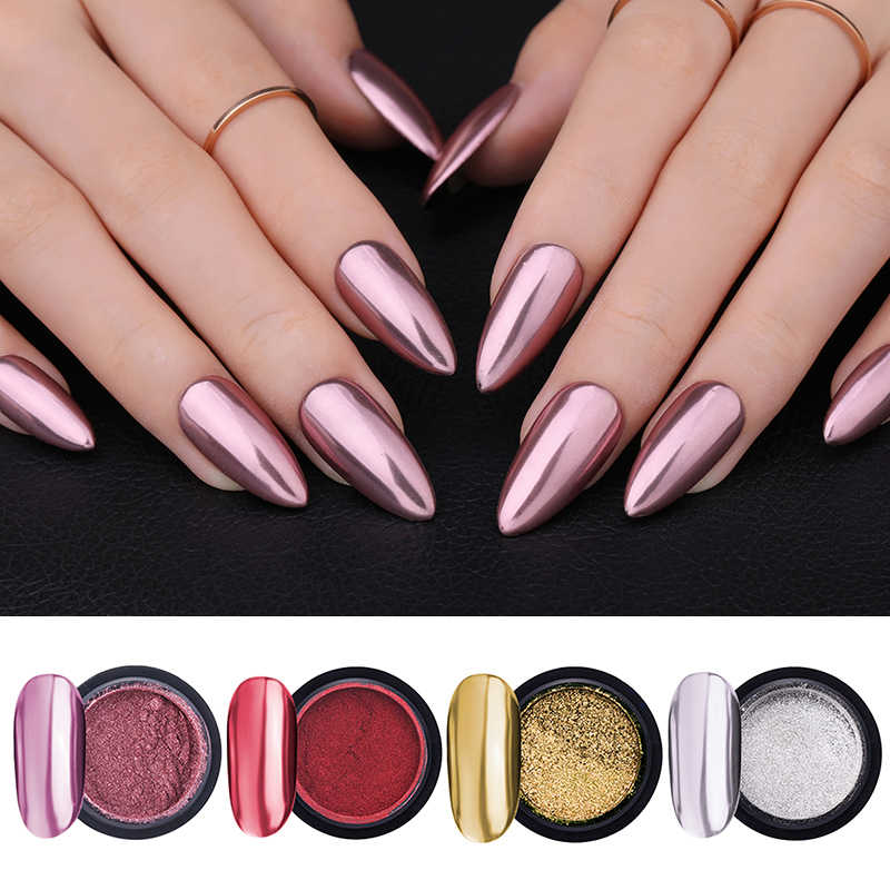 Lemooc Nail Shimmer Poeder Shining Rose Gold Metal Spiegel Effect Nail Chrome Pigment Holografische Dust Nail Art Decoratie