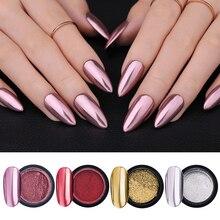 LEMOOC Nail Shimmer Powder Shining Rose Gold Metal Mirror Effect Nail Chrome Pigment Holographic Dust Nail Art Decoration