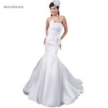 Real Photos Elegant Mermaid Wedding Dresses Satin Sexy Gowns Backless Bridal robe de mariee 2019 New Arrival