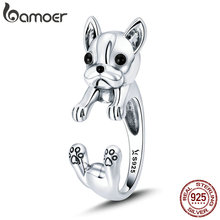 BAMOER 925 Sterling Silver French Bulldog Animal Female Finger Rings for Women Adjustable Size Sterling Silver Jewelry SCR411