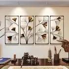Metal chino Hollow Ginkgo hoja Oficina Lucky Fengshui ornamentos artesanía hogar sala de estar pared sofá TV Fondo murales Decoración