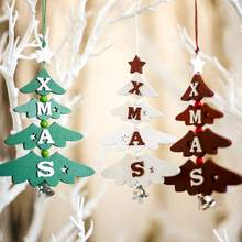 Christmas Tree Shape Wooden Pendant Christmas Home Bar Shop Decoration Painted Letters Hanging Ornament 3 ColorCM