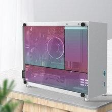 Silver PC Gaming Computer Case Mini ITX Aluminum Suitcase Portable Desktop Computer Empty Chassis