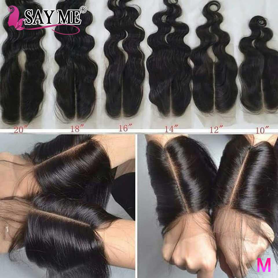 Kim K 2*6 Lace Closure Brazilian Body Wave Closure With Baby Hair Middle Part Non-Remy Human Hair Closure For Black Women Medium