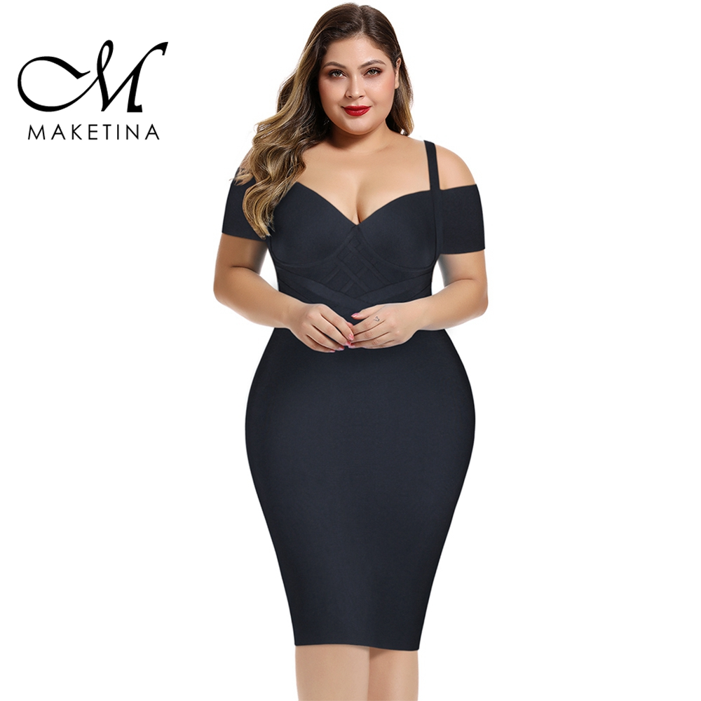 Maketina 2020 <font><b>Women</b></font> Black Strapy Plus Size Bandage <font><b>Dress</b></font> Elegant Striped Bandage <font><b>Dress</b></font> <font><b>Sexy</b></font> Party Club Plus Size <font><b>Bodycon</b></font> <font><b>Dress</b></font> image
