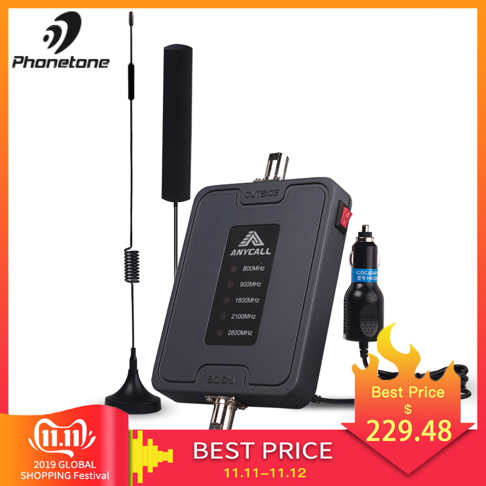 Mobile Cell Phone Signal Booster 800/900/1800/2100/2600MHz 2G 3G 4G LTE Amplifier for Car use 5 Band 45dB Gain Cellular Repeater-in Signal Boosters from Cellphones & Telecommunications