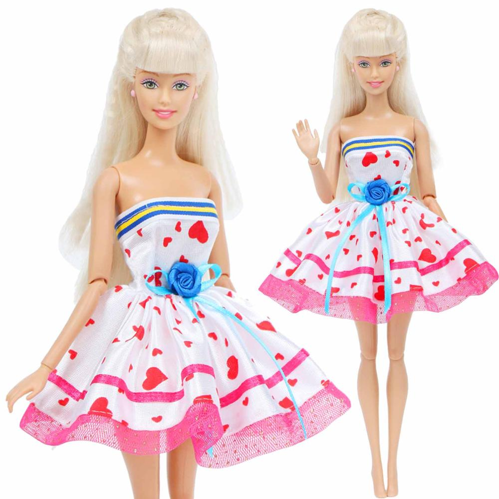 Fashion Doll Dress Cute Pink Lace Short Gown With Flower Dinner Party Wear Clothes For Barbie Doll Accessories 12'' Doll Toy
