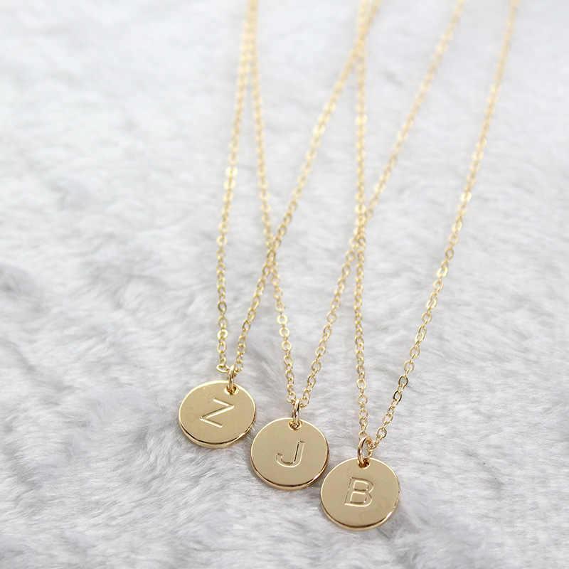Hurtownie DIY biżuteria moda 26 liter początkowa Choker naszyjnik dla kobiet złoto srebro Metal wisiorek w kształcie monety naszyjniki na prezenty