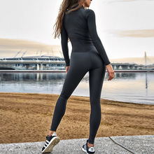 WANAYOU Women Yoga Workout Set,Sexy Stitching Zipper Jumpsuits,One-Piece Sport Running Fitness Suit Sportswear for Women