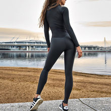 WANAYOU kadınlar Yoga egzersiz seti, seksi dikiş fermuar tulumlar, tek parça spor koşu spor takım elbise kadınlar için spor