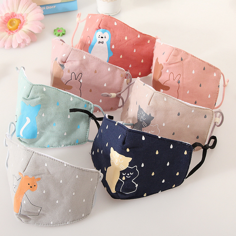 40Pc/lot  Kids Cotton Mask Anti-pollution Cute Children Mouth Mask Cycling Wearing Windproof Anti-Dust Face Masks 3-12 Y