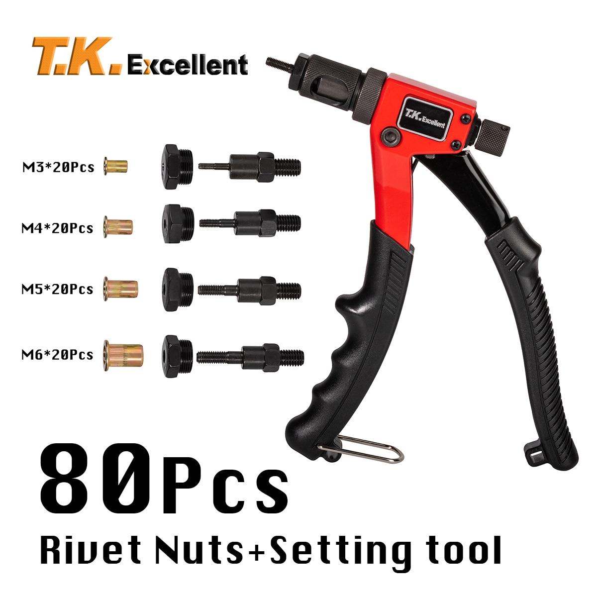 BT-603 Rivet Nut Setting Tool Kit M3 M4 M5 M6 4-Piece mandrels Hand Riveter Nut Gun, Riveting Tools with Nut Setting System