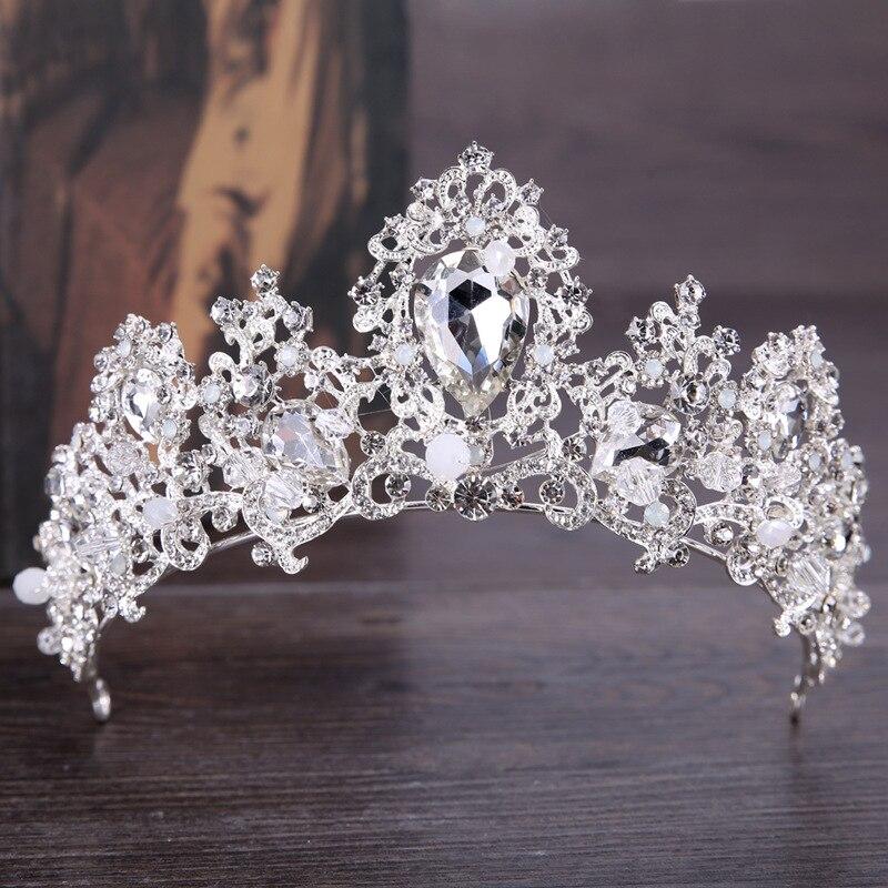 Trendy Bridal Crown Hair Accessories Silver Color Rhinestone Crystal Crown Headband Princess Crown Wedding Crown Hair Jewellery