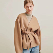 Totem* Wool coat short Cardigan Cassic ANNECY series V-neck Cardigan arc si-shaped Silhouette Belted Jacket Tight Waist
