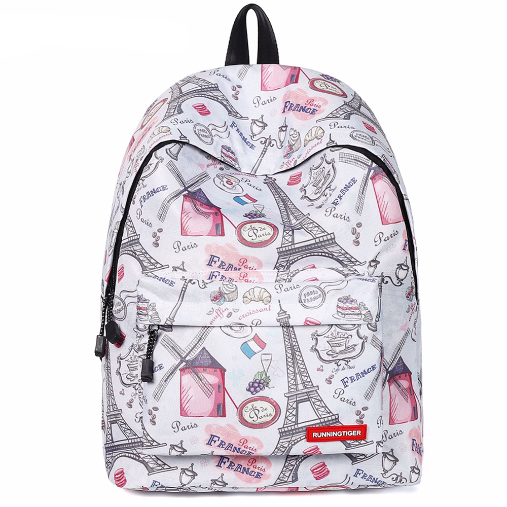 Eiffel Tower Printed Backpack Woman Casual School Backpack For Teenage Girls Fashion Schoolbag Waterproof College Student Bag