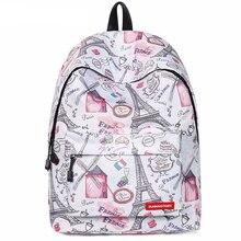 Mochila Escolar Feminina Mujer Eiffel Tower Printed Backpack Woman School Backpack for Teenage Girls Waterproof Student Bookbags
