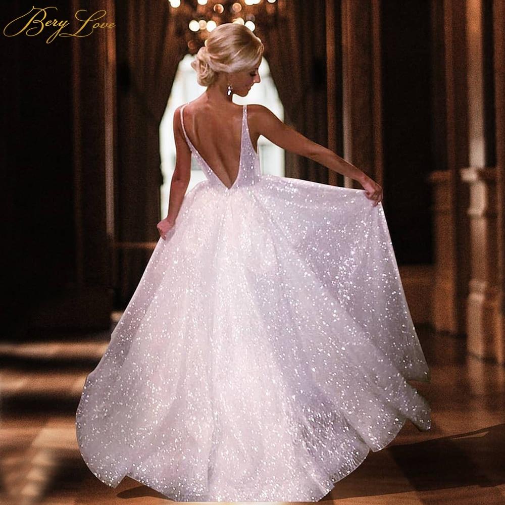 BeryLove Glitter A Line Ivory Wedding Dresses 2020 Open Back Shiny V Neckline Wedding Gowns Women Bridal Dresses Bride Marriage