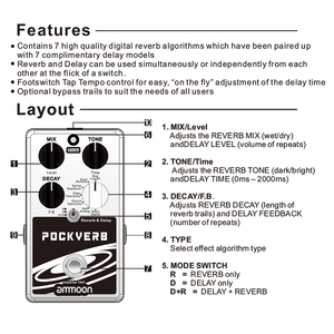 Image 5 - ammoon POCKVERB Reverb & Delay Guitar Effect Pedal 7 Reverb Effects + 7 Delay Effects With Tap Tempo Function True Bypass