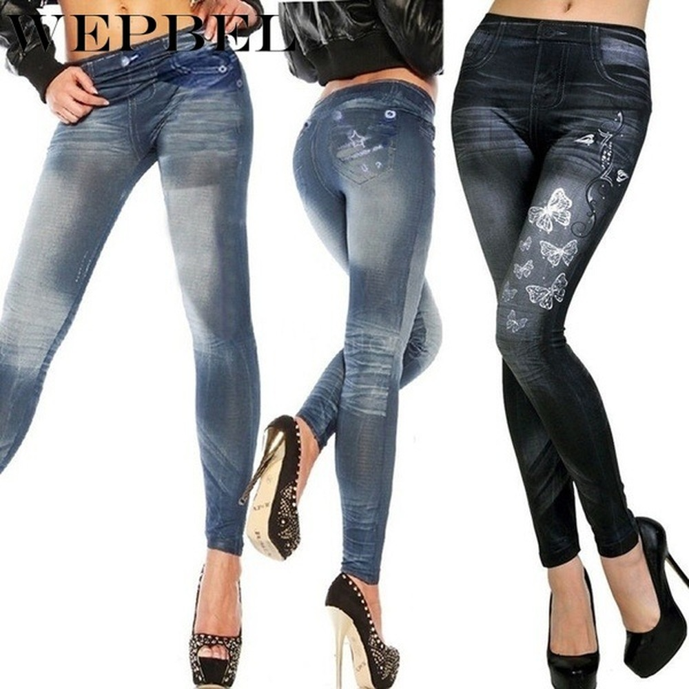 WEPBEL Stretchy Slim Leggings Sexy Women Denim Jeggins Skinny Embroidery Pants
