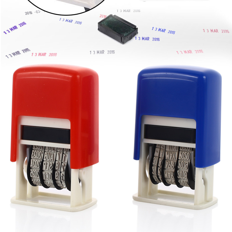 Date Stamps DIY Handle Account Stamping Mud Set 2016-2027 English Office Supplies SCHOOL Home Wheel Convenient Dater Retro Art
