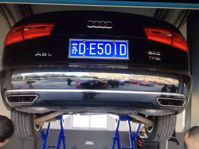 2012 2015 a6 c7 rear bumper lip diffuser with exhaust muffler pipe for audi a6 c7 standard bumper