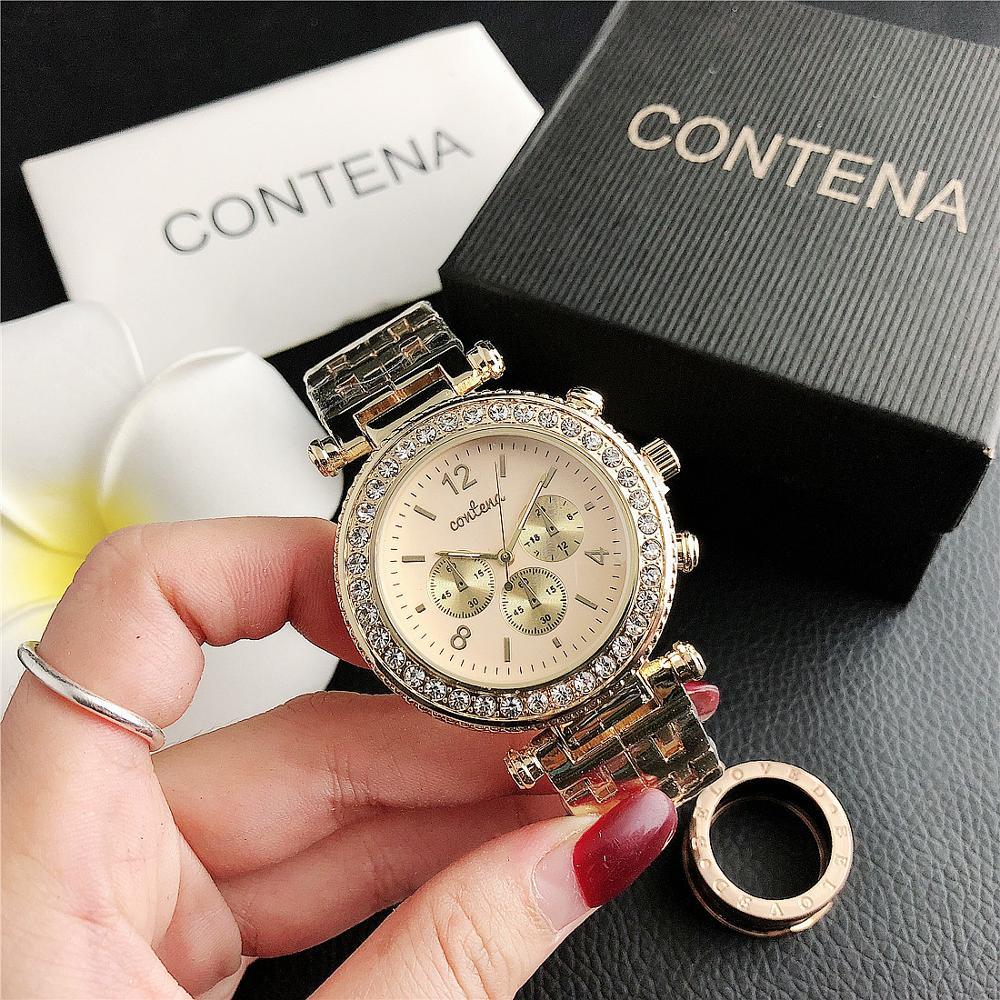 6693    New Fashion Diamond Small Dial Watch Three Eyes Ladies Factory Wholesale